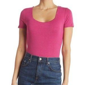 Socialite Square Neck Bodysuit Size Medium Pink